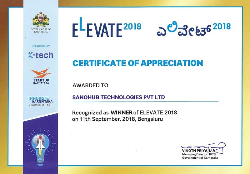 Sanohub, Winner of Elevate 2018 Karnataka Startup Policy