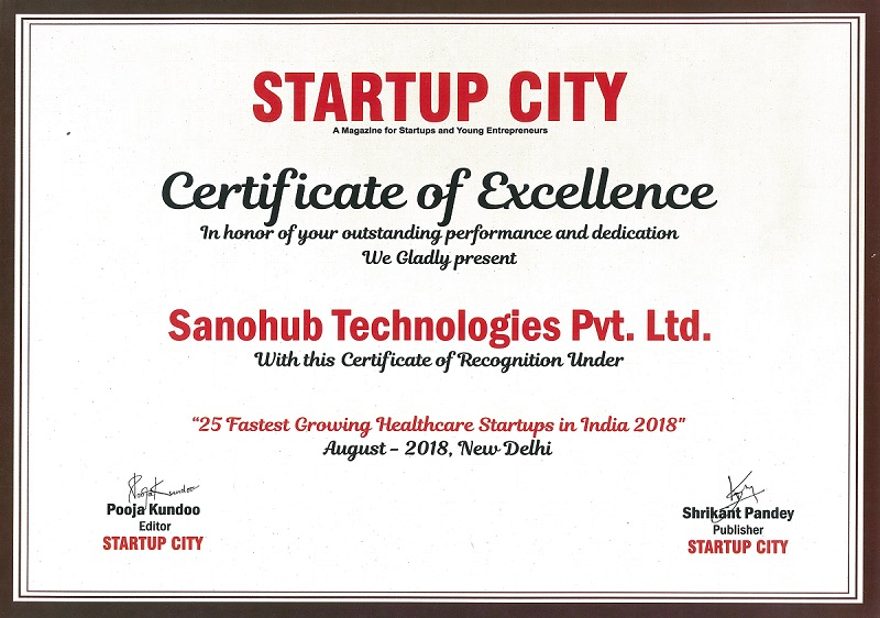 Sanohub, recognized under 25 fastest growing healthcare Startups